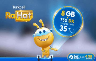 Turkcell Rahat Paketi 8GB ve 750 Dakika 35 TL