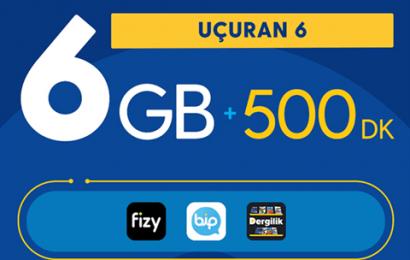 Turkcell Uçuran 6GB Paketi 45 TL